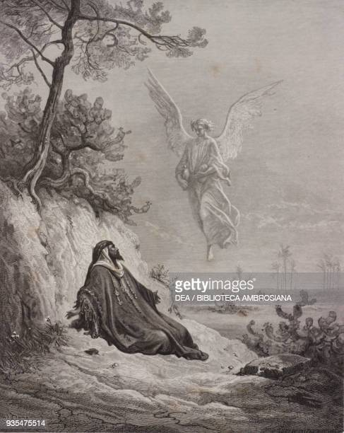 Elijah is nourished in the desert by an angel engraving by Gustave Dore from The Holy Scriptures containing the Old and New Testaments Translated...