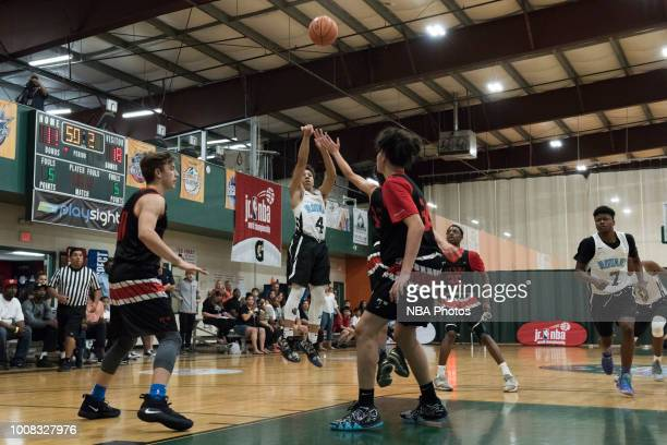 Elijah Johnson of Seattle Rotary shoots the ball against Alaska Tru Game during the Jr NBA World Championship Northwest Regional Finals on July 1...
