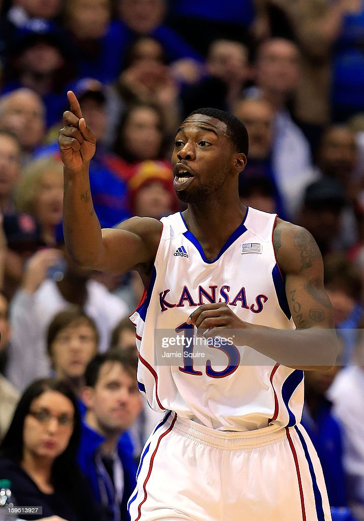 Elijah Johnson #15 of the Kansas Jayhawks reacts after scoring during the game against the Baylor Bears at Allen Fieldhouse on January 14, 2013 in Lawrence, Kansas.