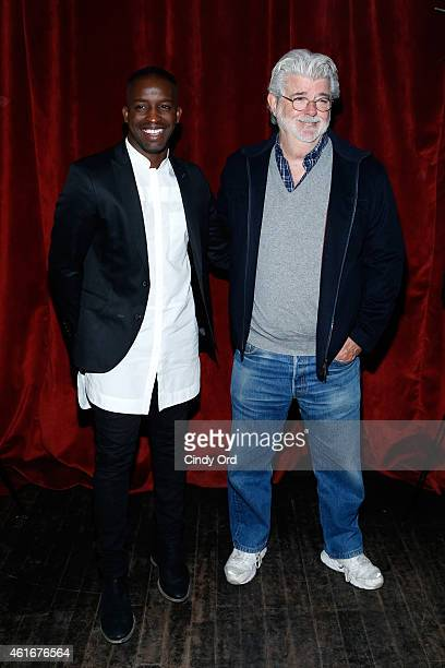 Elijah Kelley and George Lucas attend The New York Special Screening Of Lucasfilm's STRANGE MAGIC At The Tribeca Grand Hotel Hosted By The Cinema...