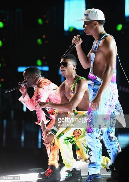 Elijah Kelley Bryshere Y Gray and Keith Powers of the adult cast of 'The New Edition Story' peforms onstage at 2017 BET Awards at Microsoft Theater...