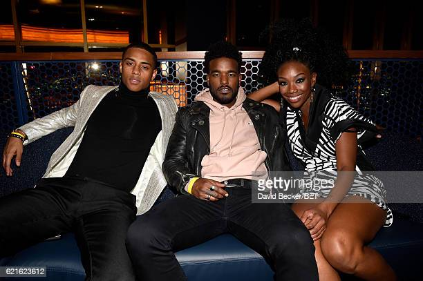 Elijah Kelley Luke James of BET's 'The New Edition Story' and singer/Songwriter Brandy attends the 2016 Soul Train Music Awards After Party on...