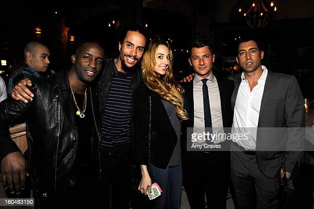 Elijah Kelly Ross Naess Kimberly Ryan Sylvain Bitton and JT Torregiani attend the Aventine Restaurant Grand Opening on January 31 2013 in Hollywood...