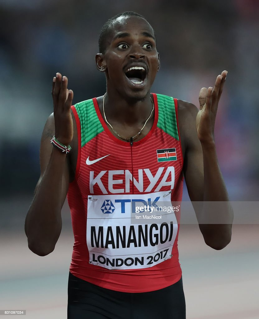 Elijah Matanei Manangoi of Kenya win's the Men's 1500m final during day ten of the 16th IAAF World Athletics Championships London 2017 at The London Stadium on August 13, 2017 in London, United Kingdom.