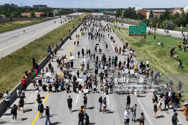 Elijah McClain protest in front of the Aurora Police department's headquarters at the Aurora Municipal Center June 27 2020 Elijah McClain died August...