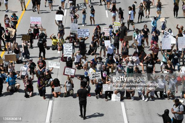 Elijah McClain protesters close down highway 225 in both directions at Alameda while marching after leaving the Aurora Municipal Center June 27 2020...