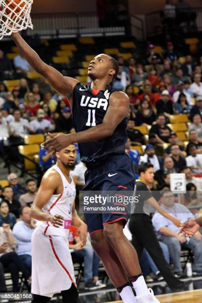 Elijah Millsap of Team USA drives to the basket against Purto Rico during the FIBA World Cup America Qualifiers on November 23 2017 at CFE Arena in...