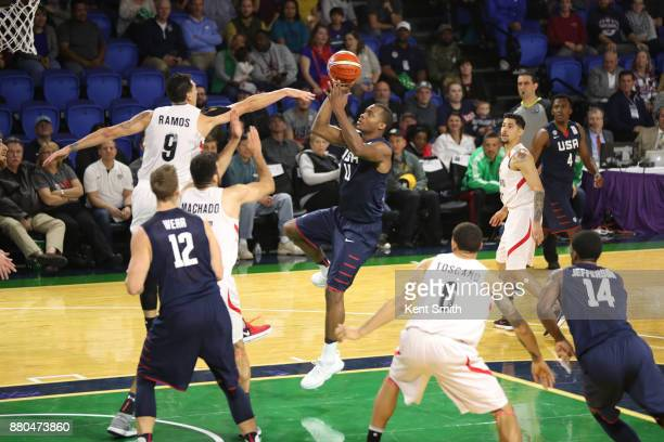 Elijah Millsap of Team USA drives to the basket against Team Mexico during the FIBA World Cup America Qualifiers on November 20 2017 at Greensboro...