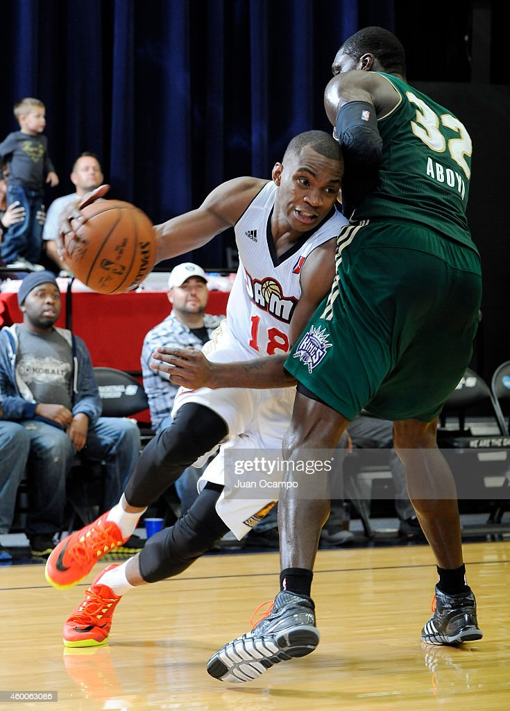 Elijah Millsap #18 of the Bakersfield Jam drives the baseline against the Reno Bighorns during a D-League game on December 5, 2014 at Dignity Health Event Center in Bakersfield, California.