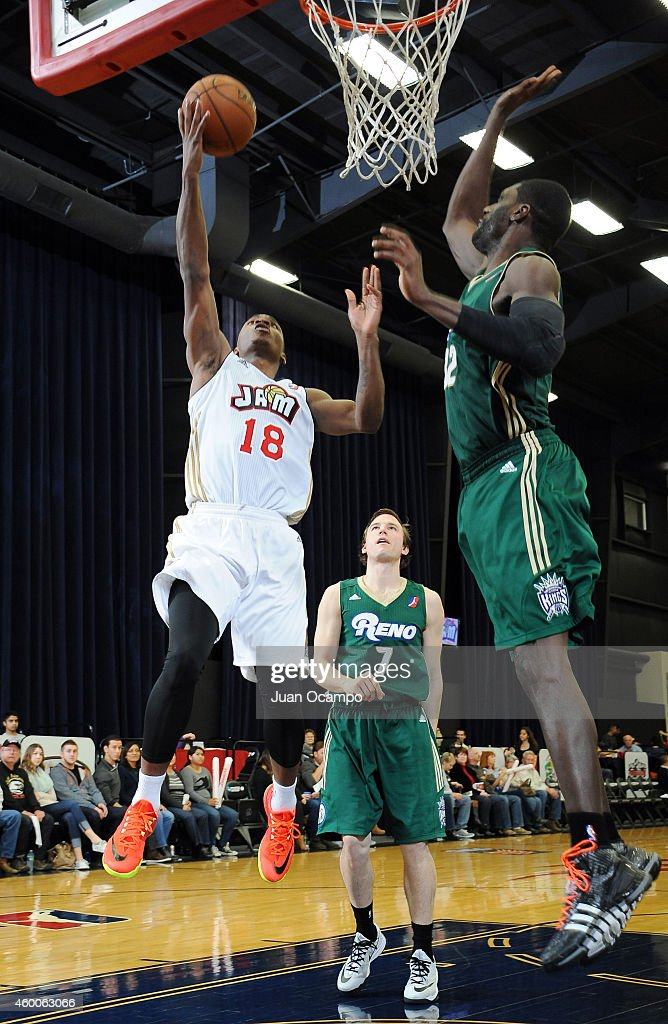 Elijah Millsap #18 of the Bakersfield Jam goes to the basket against the Reno Bighorns during a D-League game on December 5, 2014 at Dignity Health Event Center in Bakersfield, California.