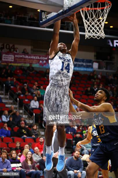 Elijah Millsap of the Iowa Wolves goes up for a dunk against Tony Bradley of the Salt Lake City Stars in an NBA GLeague game on December 8 2017 at...
