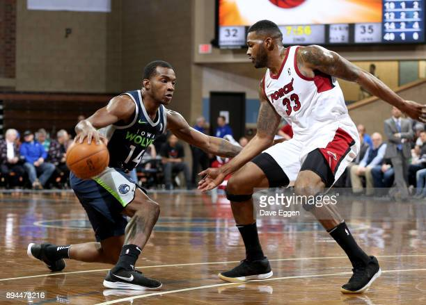 Elijah Millsap of the Iowa Wolves looks to make a move against Alonzo Gee of the Sioux Falls Skyforce during an NBA GLeague game on December 17 2017...