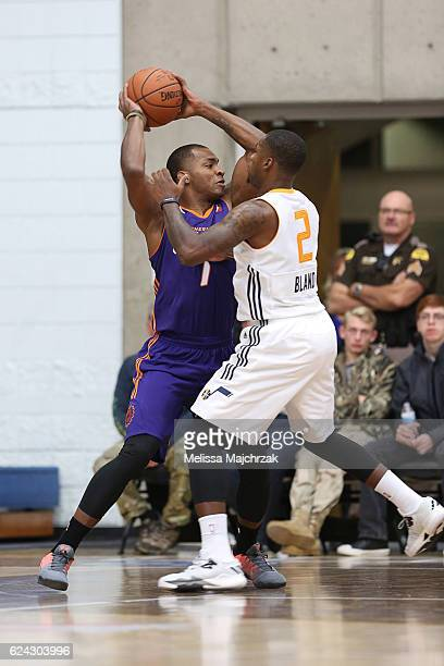Elijah Millsap of the Northern Arizona Suns passes the ball against Jaylen Bland of the Salt Lake City Stars at Bruins Arena on November 18 2016 in...