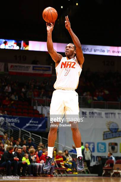 Elijah Millsap of the Northern Arizona Suns shoots a jumpshot against the Iowa Energy in an NBA DLeague game on January 28 2017 at the Wells Fargo...