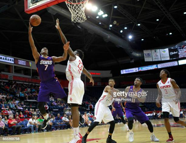 Elijah Millsap of the Northern Arizona Suns shoots over Chinanu Onuaku of the Rio Grande Valley Vipers at the State Farm Arena March 19 2017 in...