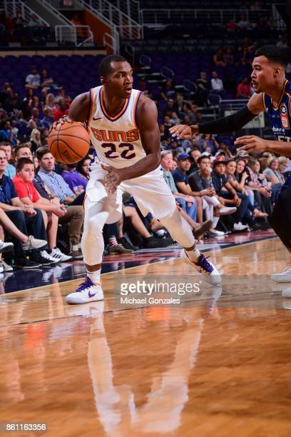 Elijah Millsap of the Phoenix Suns handles the ball during the preseason game against the Brisbane Bullets on October 13 2017 at Talking Stick Resort...