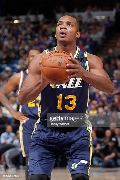Elijah Millsap of the Utah Jazz attempts a free throw shot against the Sacramento Kings on April 5 2015 at Sleep Train Arena in Sacramento California...