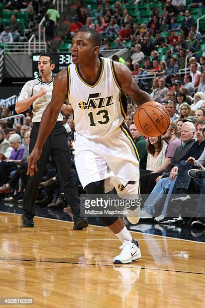 Elijah Millsap of the Utah Jazz dribbles the ball against the Denver Nuggets on October 22 2015 at EnergySolutions Arena in Salt Lake City Utah NOTE...