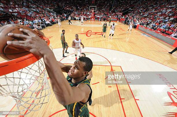 Elijah Millsap of the Utah Jazz dunks against the Houston Rockets on April 15 2015 at the Toyota Center in Houston Texas NOTE TO USER User expressly...