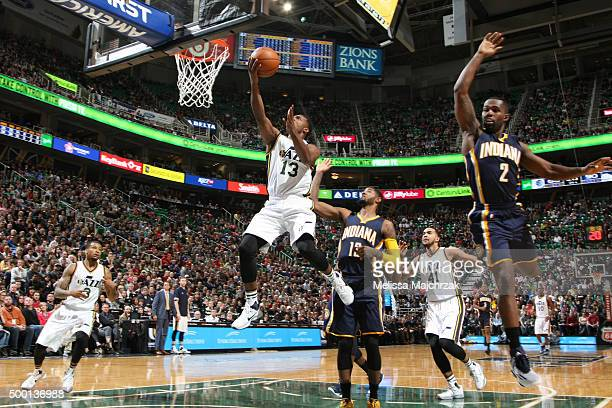 Elijah Millsap of the Utah Jazz goes for the layup against the Indiana Pacers during the game on December 5 2015 at Vivint Smart Home Arena in Salt...