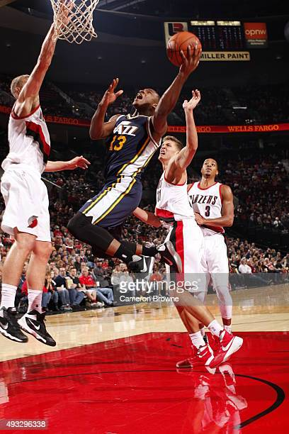Elijah Millsap of the Utah Jazz goes to the basket against the Portland Trail Blazers on October 18 2015 at the Moda Center in Portland Oregon NOTE...