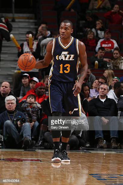 Elijah Millsap of the Utah Jazz handles the ball against the Chicago Bulls on January 7 2015 at United Center in Chicago Illinois NOTE TO USER User...