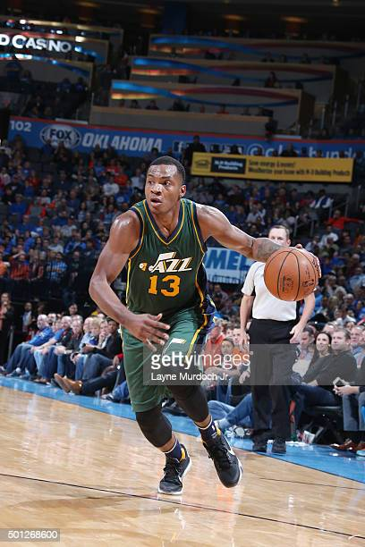Elijah Millsap of the Utah Jazz handles the ball against the Oklahoma City Thunder on December 13 2015 at Chesapeake Energy Arena in Oklahoma City...