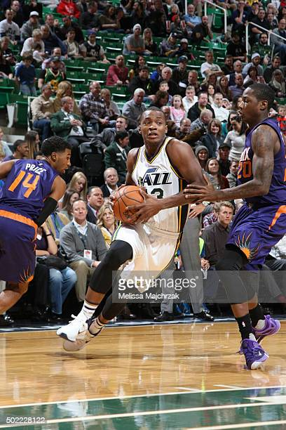 Elijah Millsap of the Utah Jazz handles the ball against the Phoenix Suns on December 21 2015 at vivintSmartHome Arena in Salt Lake City Utah NOTE TO...