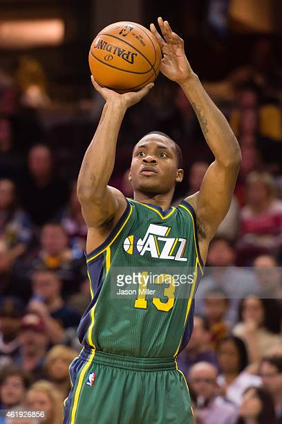 Elijah Millsap of the Utah Jazz shoots a jumpshot during the second half at Quicken Loans Arena on January 21 2015 in Cleveland Ohio The Cavaliers...