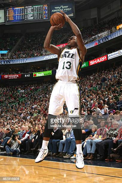 Elijah Millsap of the Utah Jazz takes a shot against the Boston Celtics on January 26 2015 at EnergySolutions Arena in Salt Lake City Utah NOTE TO...