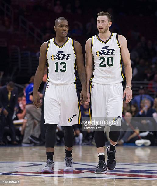 Elijah Millsap of the Utah Jazz talks to Gordon Hayward during the game against the Philadelphia 76ers on October 30 2015 at the Wells Fargo Center...