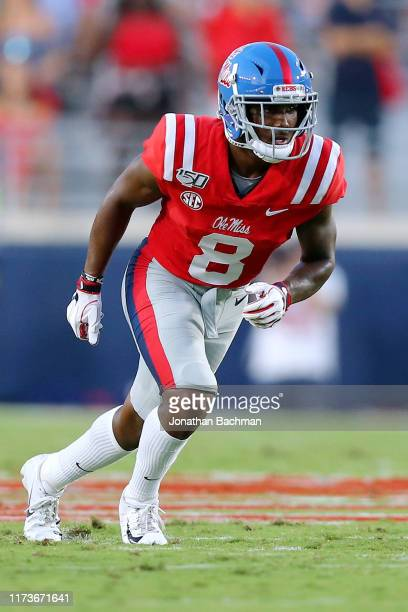 Elijah Moore of the Mississippi Rebels in action during a game against the Arkansas Razorbacks at VaughtHemingway Stadium on September 07 2019 in...