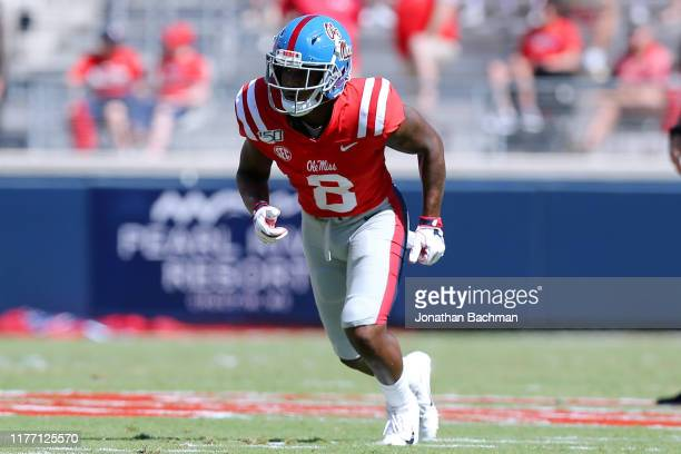 Elijah Moore of the Mississippi Rebels in action during a game against the California Golden Bears at VaughtHemingway Stadium on September 21 2019 in...