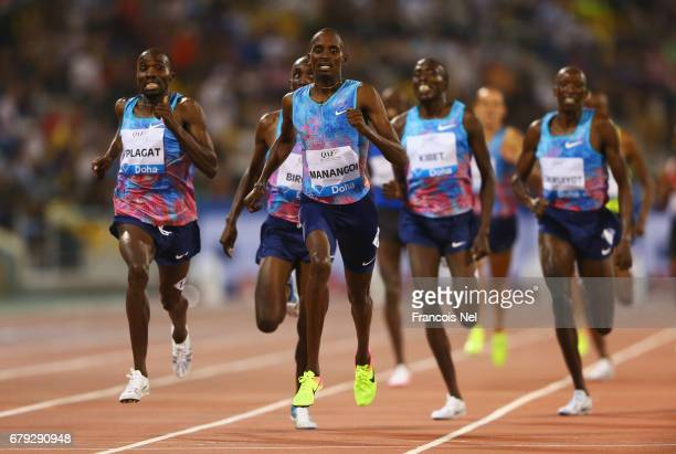 Elijah Motonei Managoi of Kenya races to the line to win the 1500 metres during the Doha IAAF Diamond League 2017 at the Qatar Sports Club on May 5...