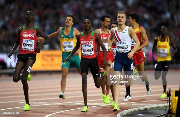Elijah Motonei Manangoi of Kenya, Asbel Kiprop of Kenya and Filip Ingebrigtsen of Norway compete in the Men's 1500 metres semi finals during day...