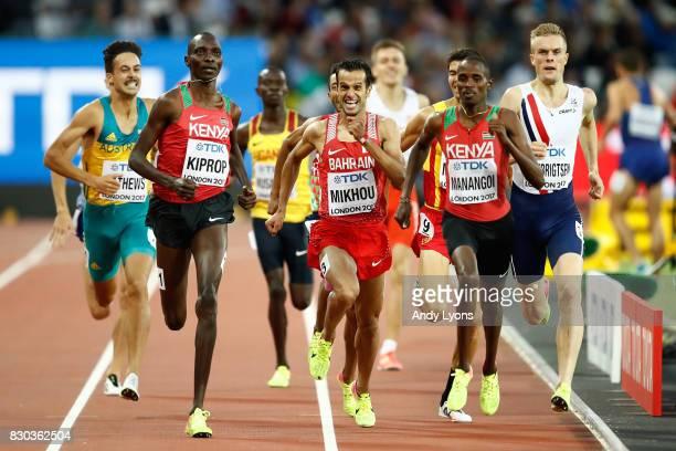 Elijah Motonei Manangoi of Kenya, Asbel Kiprop of Kenya and Sadik Mikhou of Bahrain compete in the Men's 1500 metres semi finals during day eight of...