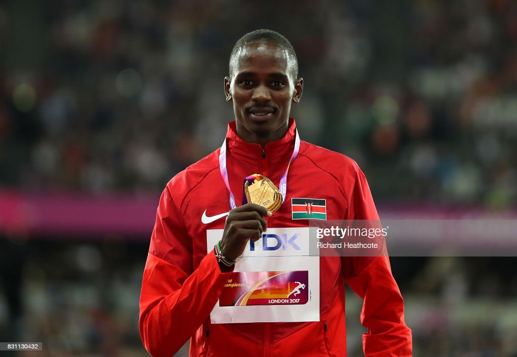 Elijah Motonei Manangoi of Kenya poses on the podium with his gold medal for the Men's 1500m Final during day ten of the 16th IAAF World Athletics Championships London 2017 at The London Stadium on August 13, 2017 in London, United Kingdom.