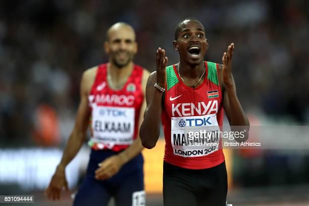 Elijah Motonei Manangoi of Kenya reacts as he crosses the finish line to win gold in the Men's 1500 metres final during day ten of the 16th IAAF...