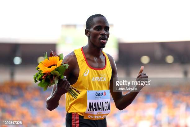 Elijah Motonei Manangoi of Team Africa celebrates victory following the Mens 1500 Metres during day two of the IAAF Continental Cup at Mestsky...
