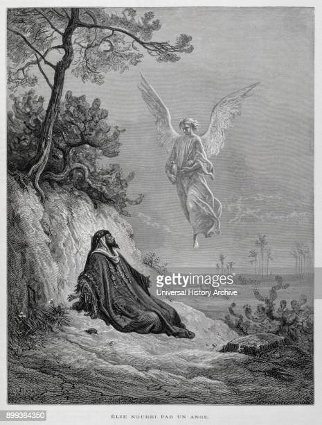 Elijah nourished by an Angel Illustration from the Dore Bible 1866 In 1866 the French artist and illustrator Gustave Dore published a series of 241...