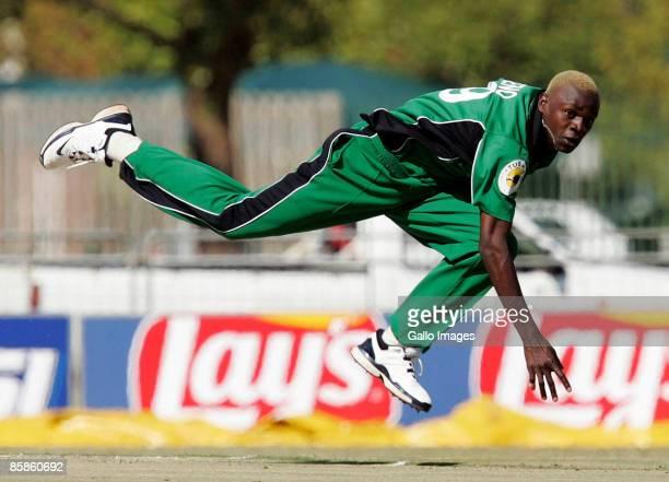 Elijah Otieno bowls for Kenya during the ICC Mens Cricket World Cup qualifier match between Kenya and Denmark from Potchefstroom University on April...