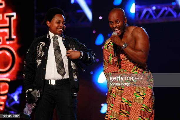 Elijah Quashie and Manny Norte speak on stage at the MOBO Awards at First Direct Arena Leeds on November 29 2017 in Leeds England