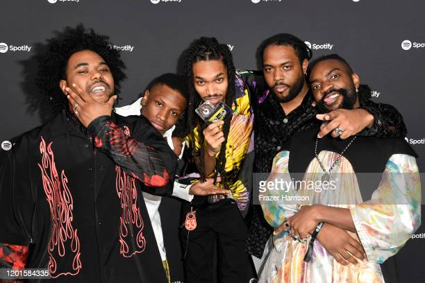 Elijah Rawk Matt Byas Elbee Thrie Aja Grant and Bari Bass of music group Phony Ppl attend Spotify Hosts Best New Artist Party at The Lot Studios on...