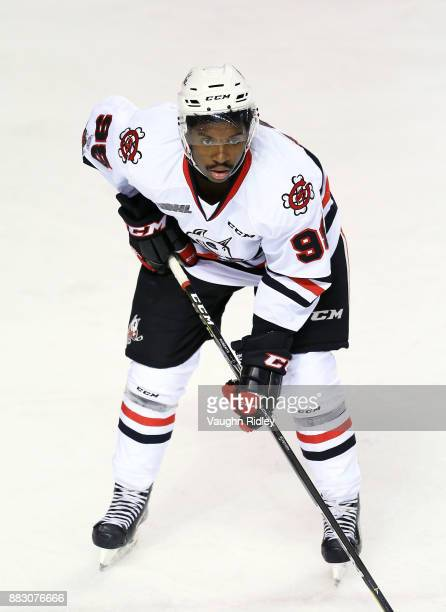 Elijah Roberts of the Niagara IceDogs skates during an OHL game against the Mississauga Steelheads at the Meridian Centre on November 25 2017 in St...