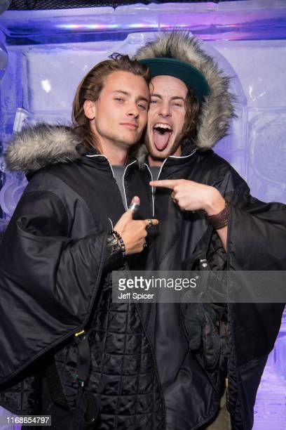 Elijah Rowen and Jack McEvoy attend a VIP event in celebration of Elijah Rowen's birthday at ICEBAR on August 17 2019 in London England