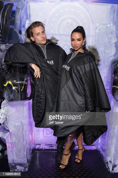 Elijah Rowen and Natasha Grano attend a VIP event in celebration of Elijah Rowen's birthday at ICEBAR on August 17 2019 in London England