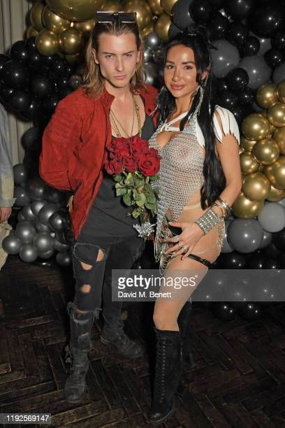 Elijah Rowen and Natasha Grano attend her birthday party at The Mandrake Hotel on January 8 2020 in London England