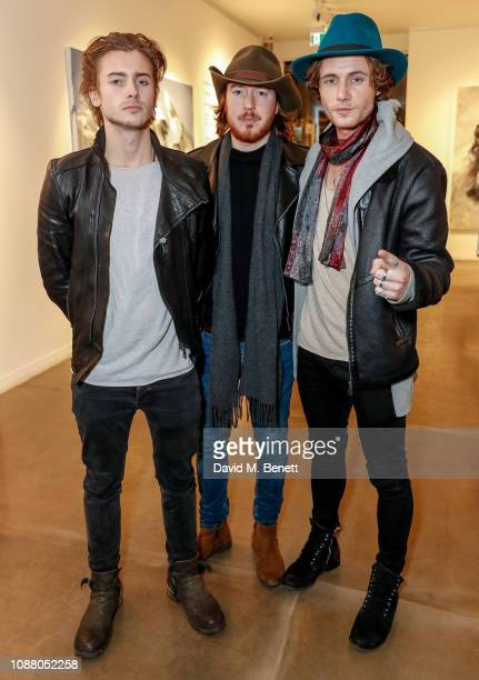 Elijah Rowen guest and Jack Mcevoy attends a private view of new exhibition To See Is Not To Speak by Conrad Jon Godly at the JD Malat Gallery on...