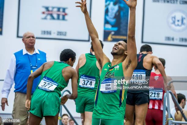 Elijah Silva of the University of Notre Dame raises his arms in celebration at the conclusion of the Mens Distance Medley Race during the Division I...