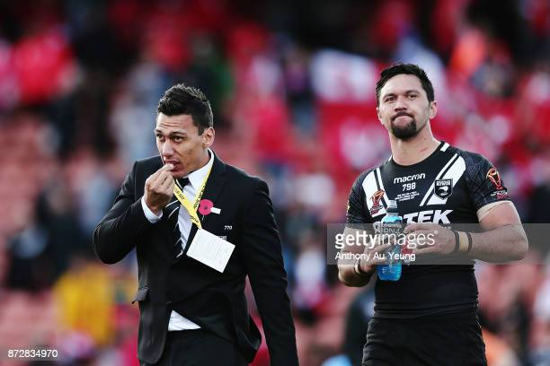 Elijah Taylor and Jordan Rapana of the Kiwis look on after losing the 2017 Rugby League World Cup match between the New Zealand Kiwis and Tonga at...